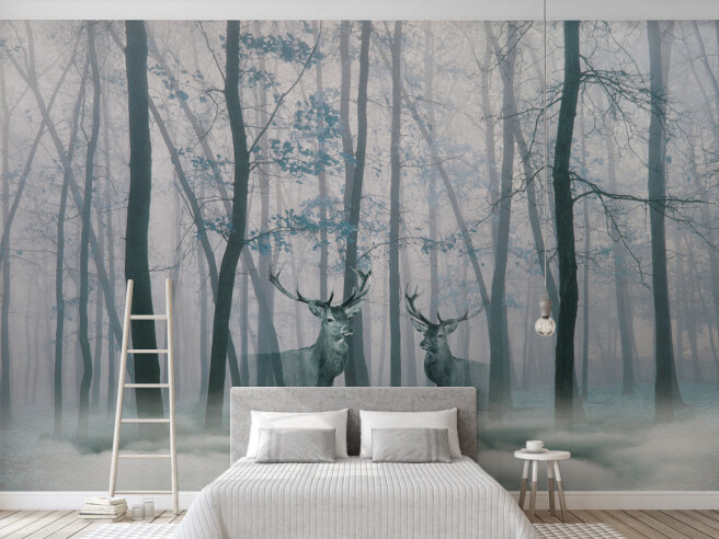 Фотообои Очертание оленей в лесу