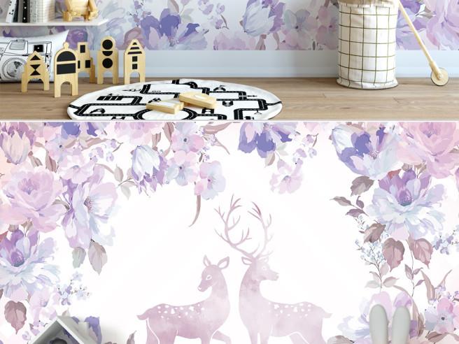 Фотообои Два оленя посреди цветов