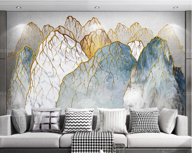 Фотообои горы с золотыми прожилками