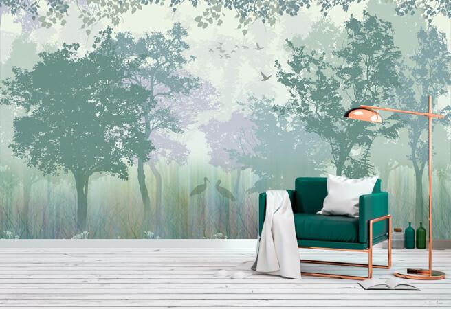 Фотообои лес в зеленоватом оттенке