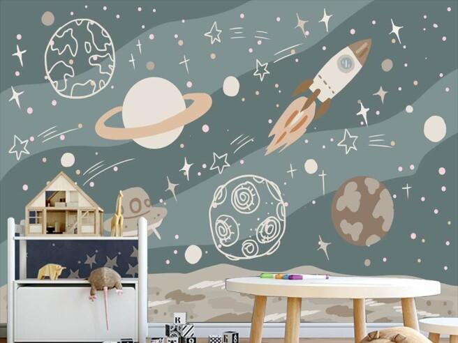 Нарисованный космос и ракета