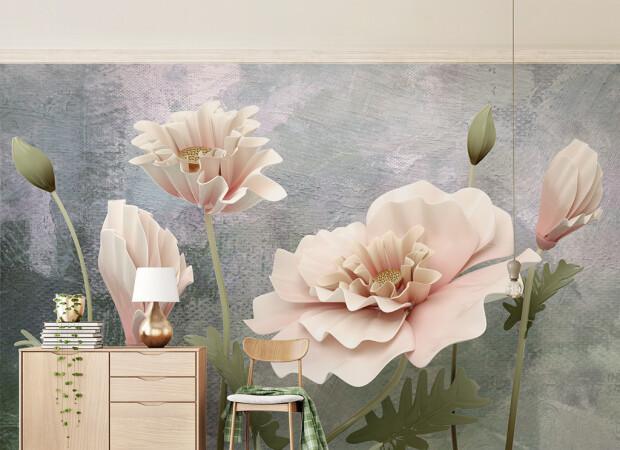 Большие бежевые цветы