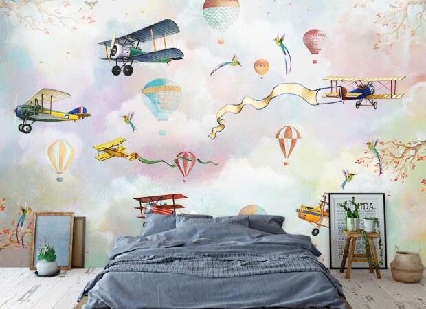 самолеты с ленточками и колибри