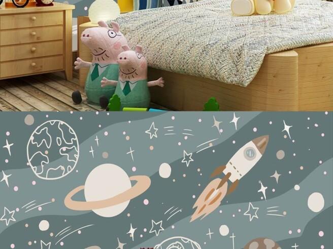 Фотообои нарисованный космос и ракета
