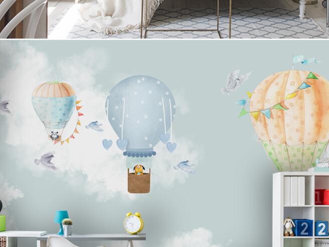 Фотообои Собачка на голубом воздушном шаре