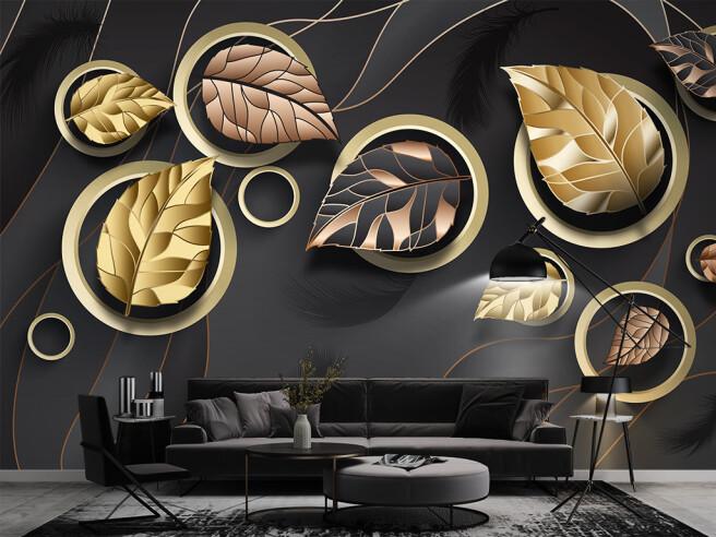 Листья в золотых кругах