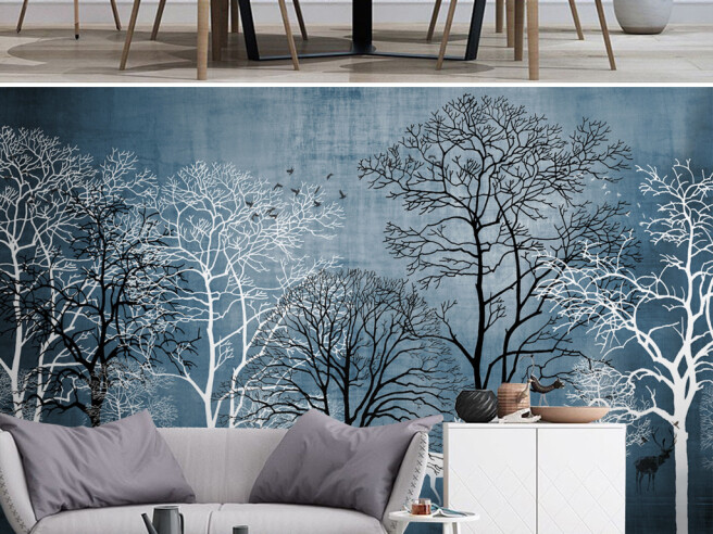 Фотообои Черно-белые деревья и олень