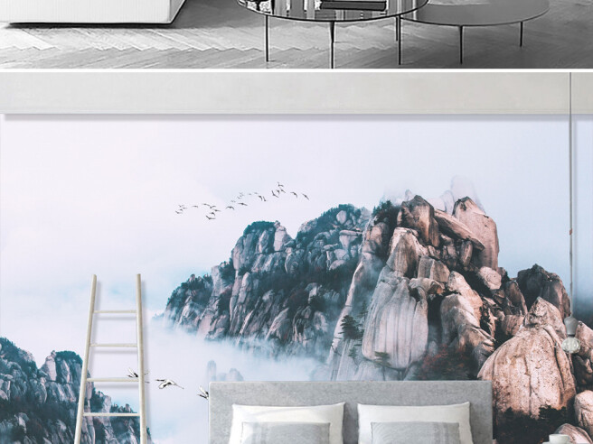 Фотообои Три журавля летят среди гор