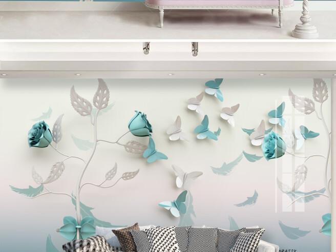 Бело-голубые бабочки и цветы