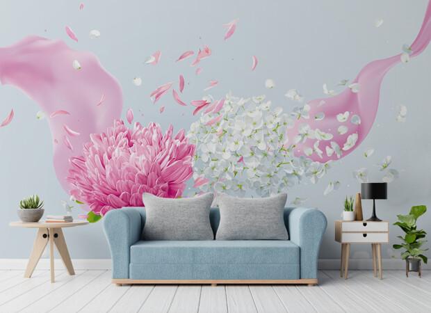 Летающие розовые лепестки
