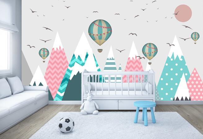 Фотообои снежные пики и полосатые шары