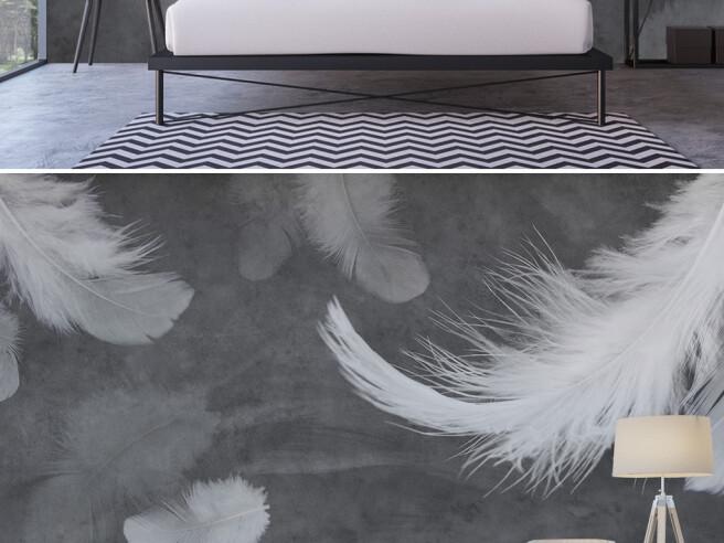 Фотообои Перья над кроватью