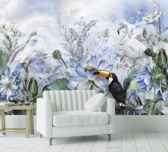 Фотообои тропики с белым фламинго