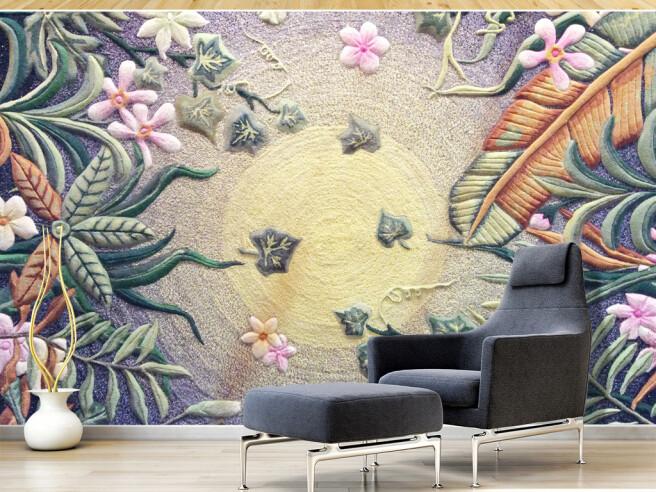 Текстурный рисунок солнца и цветов