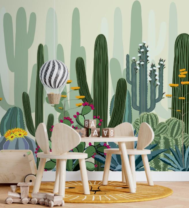 Фотообои цветастые кактусы