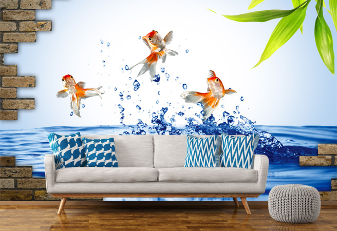 Фотообои рыбки в стене