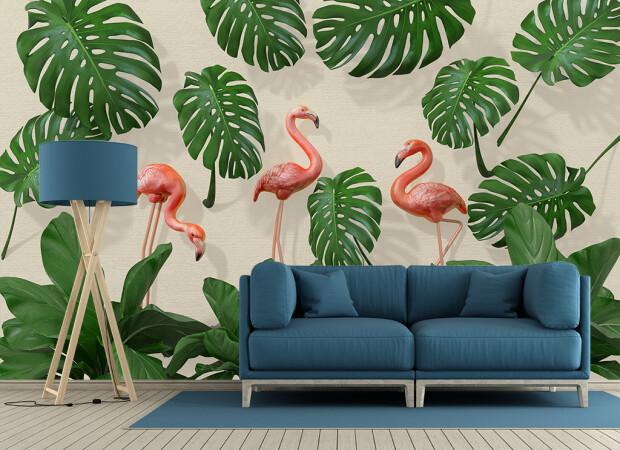 Фламинго и листья монстеры
