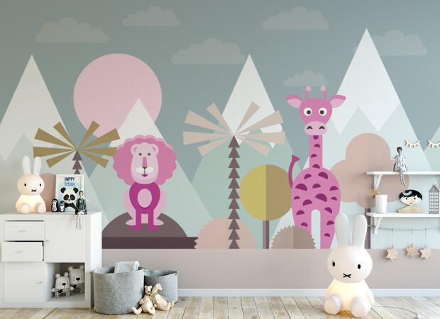 Розовые лев и жираф