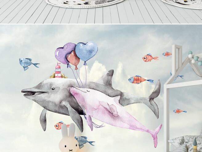 Фотообои Пара дельфинов и сердечки