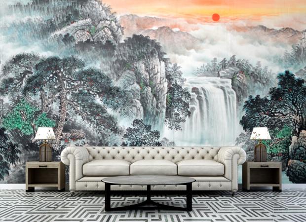 рисованный водопад