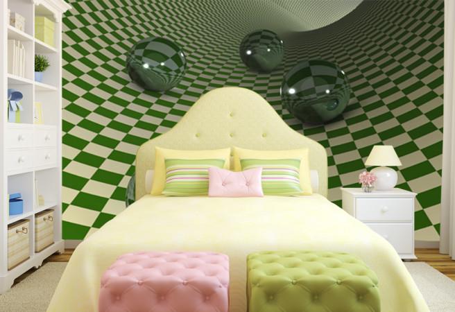 Фотообои Зеленая шахматка