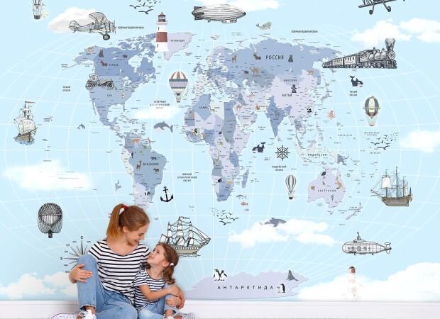 Карта на русском в голубом