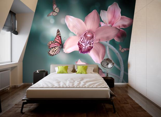 бабочка на орхидее