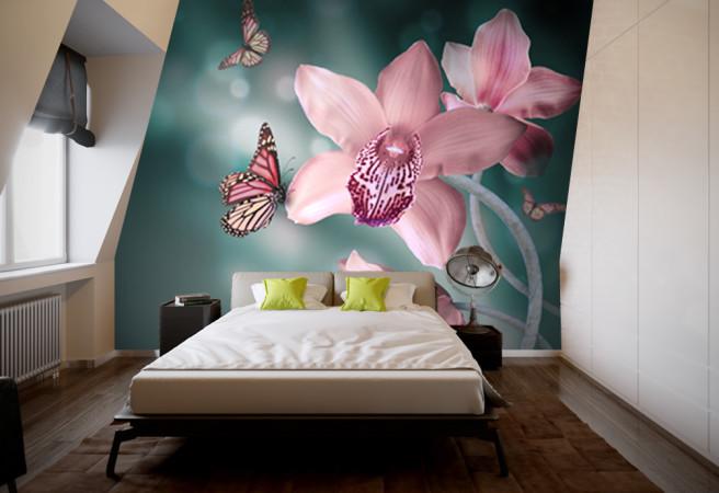 Фотообои бабочка на орхидее