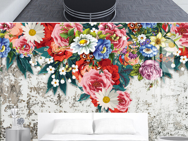Фотообои Цветы на снежном фоне