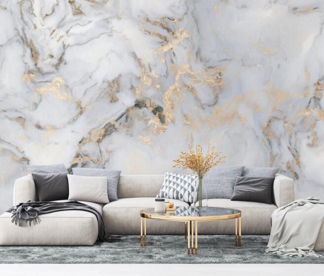 Фотообои мрамор с золотыми переливами.