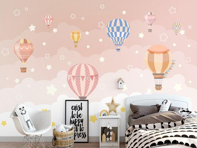 Фотообои Воздушные шары в розовом небе