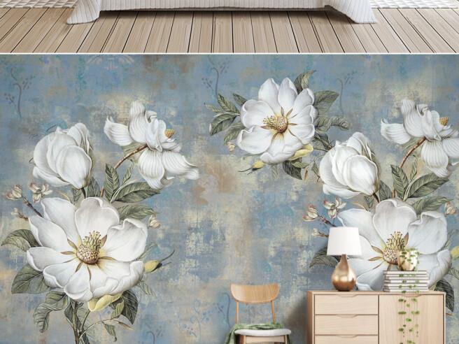 Фотообои Цветы на покрашенной стене