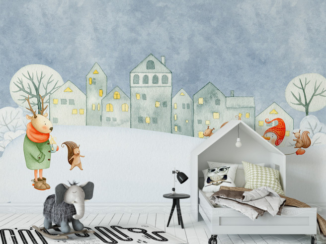 Фотообои Олень в пальто и снеговик