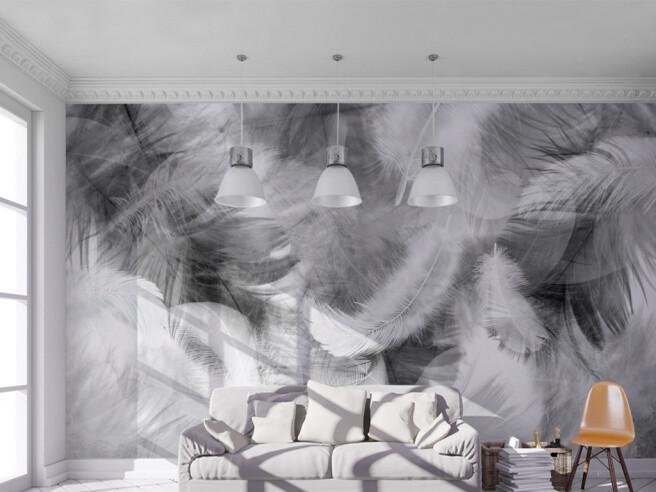 Фотообои Черно-белые перья в дыму