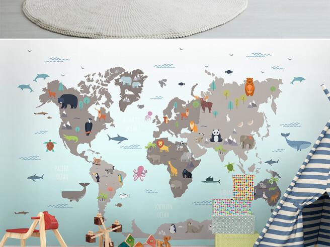 Фотообои Карта мира с животными на ней