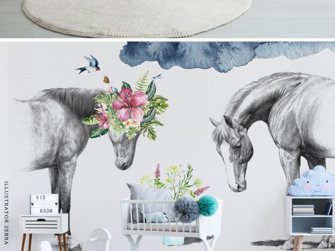 Пара серых лошадей