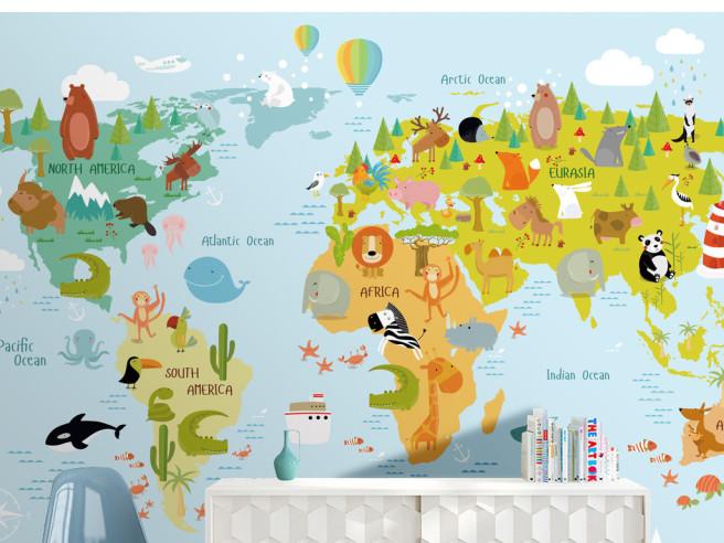 Фотообои Карта мира и звери на ней