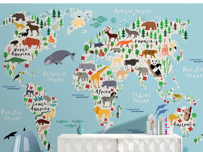 Фотообои Густонаселенная карта мира
