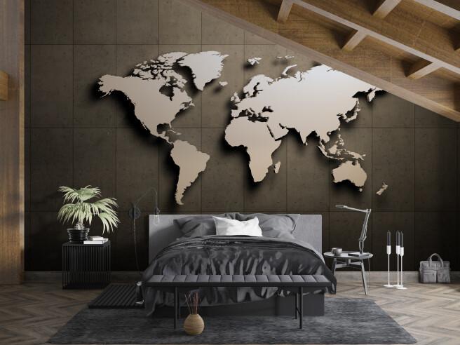 Фотообои 3д карта в спальню