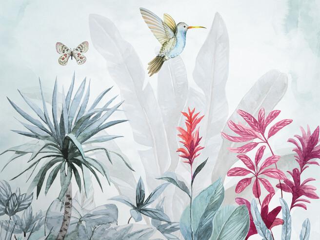 Фотообои Колибри и бабочка над цветком