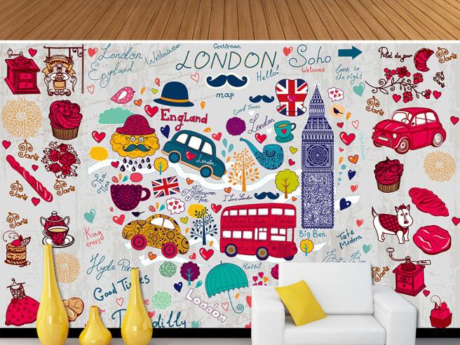 Фотообои Лондон в красном цвете