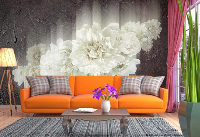 Фотообои размытый цветок на стене