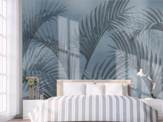 Фотообои Синие пальмовые листья