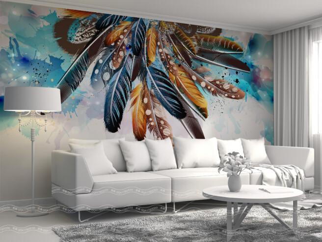 Фотообои Пестрые перья на стене