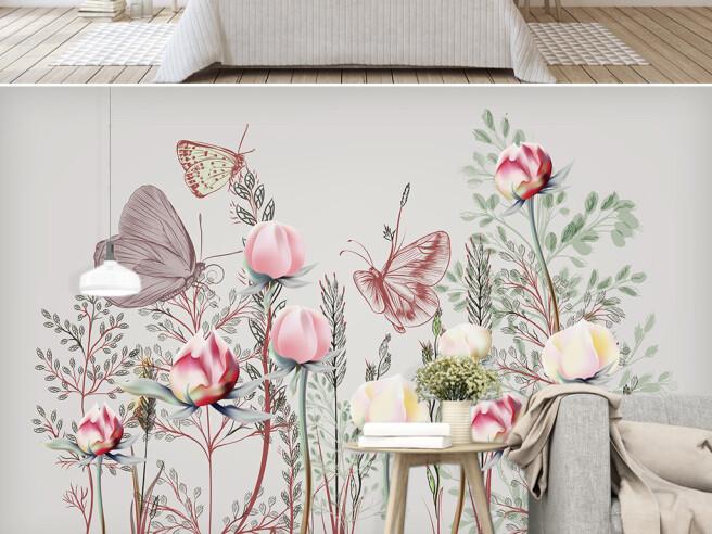 Фотообои Бабочки на розах