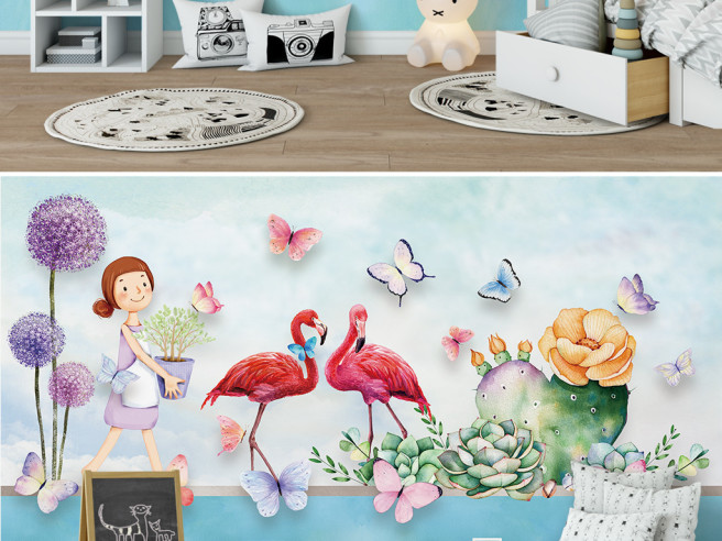 Фламинго и цветущий кактус