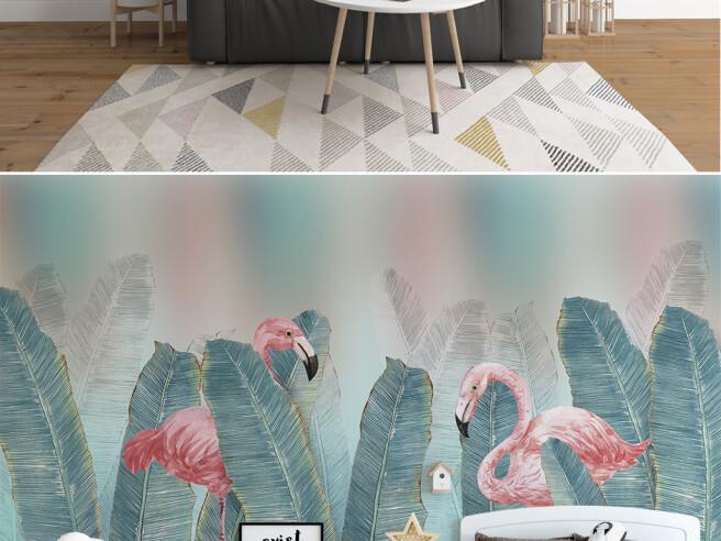 Фотообои Фламинго среди листьев
