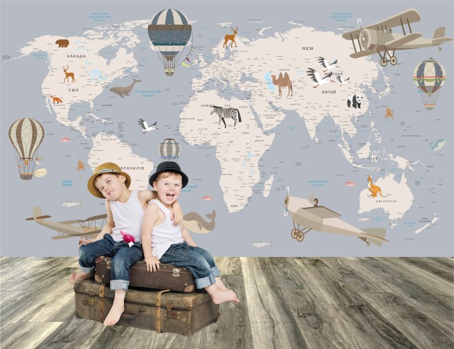 Фотообои карта мира с шарами на украинском