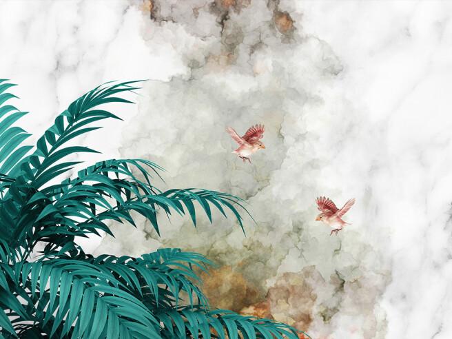 Красные птицы на фоне дыма