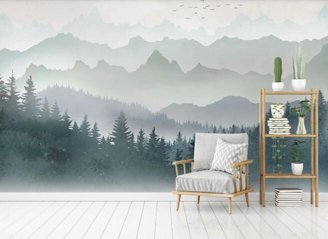 Фотообои горы лес дымка